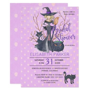 Halloween Themed Halloween witch black cats bridal shower party card