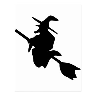 halloween witch black icon postcard