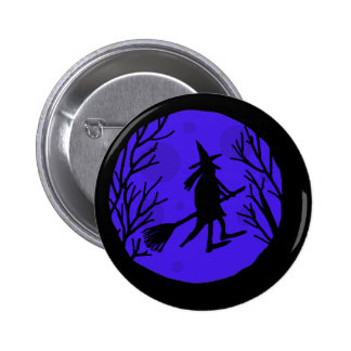 Halloween witch - blue button