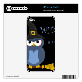 Halloween witch - blue owl iPhone 4 skin