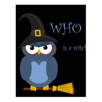 Halloween witch - blue owl postcard
