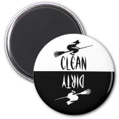Halloween Witch Broomstick Clean Dirty Dishwasher Magnet at Zazzle