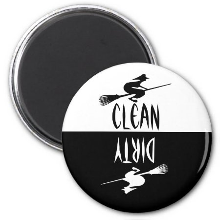 Halloween Witch Broomstick Clean Dirty Dishwasher Magnet