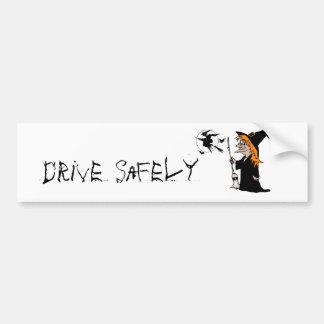halloween witch bumper sticker