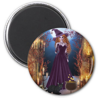Halloween Witch by Candlelight 2 Inch Round Magnet
