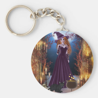 Halloween Witch by Candlelight Basic Round Button Keychain