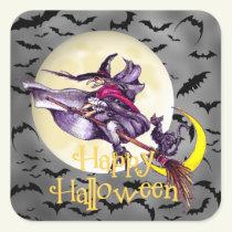 Halloween witch cartoon Holiday sticker