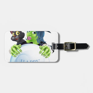 Halloween Witch cat and crystal ball Bag Tag