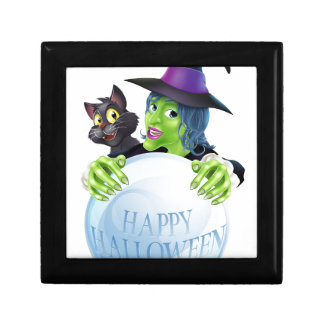 Halloween Witch cat and crystal ball Trinket Boxes
