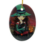 Halloween Witch Cat and Jack-o-Lantern Ornament