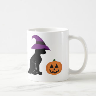 Halloween Witch Cat and Pumpkin Coffee Mug