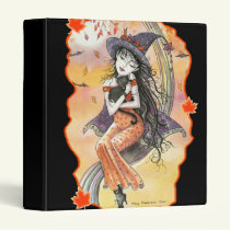 Halloween Witch Cat Binder by Molly Harrison