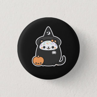 Halloween Witch Cat Button