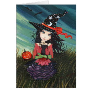 Halloween Witch Cat Card by Molly Harrison