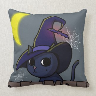 Halloween Witch Cat Illustration Dark