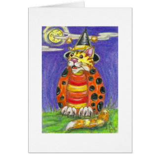 Halloween Witch Cat Lady Bug Card