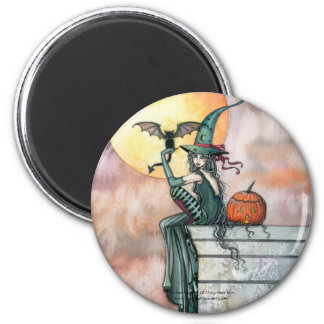 Halloween Witch Cat Magnet by Molly Harrison