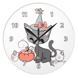 Halloween Witch Cat Orange Wallclock