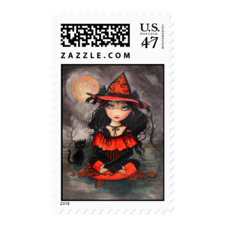Halloween Witch Cat Postage Stamps