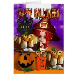 Halloween witch cat pumpkin jack o lantern card