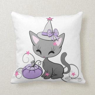 Halloween Witch Cat Purple Pillows