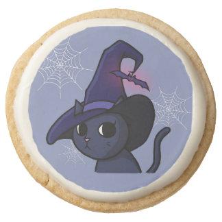 Halloween Witch Cat Round Shortbread Cookie