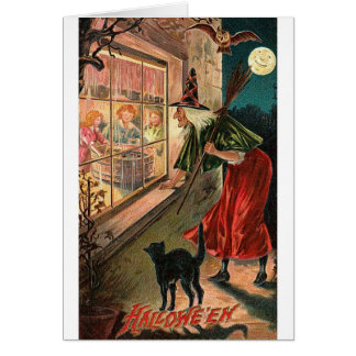Halloween Witch, Cat Staring in Window Card
