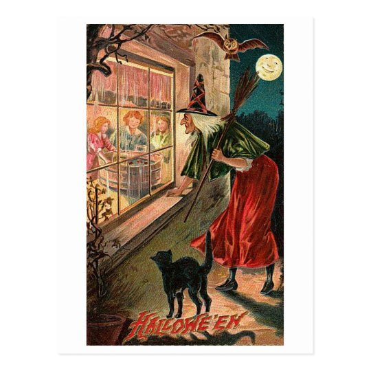 Halloween Witch, Cat Staring in Window Postcard