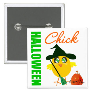 Halloween Witch Chick v2 Pinback Buttons