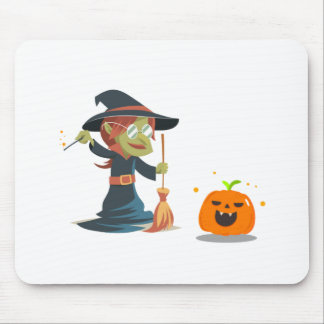 Halloween , witch cleaning the pumpkin mouse pad