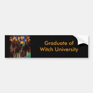 Halloween Witch College Graduates Bumper Sticker