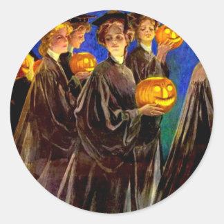 Halloween Witch College Graduates Classic Round Sticker