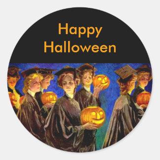 Halloween Witch College Graduates Round Sticker
