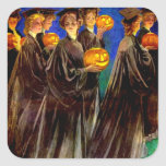 Halloween Witch College Graduates Square Stickers