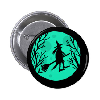 Halloween witch - cyan moon pinback button