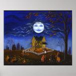 Halloween,witch,devil,moon,ghost,bat,pumpkins Print