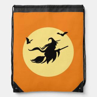 Halloween witch drawstring bag