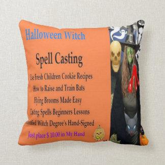 Halloween Witch Duel Artwork Throw Pillows