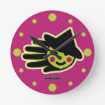 Hand shaped Halloween Witch Face Round Clock