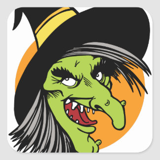 Halloween Witch Face Square Sticker