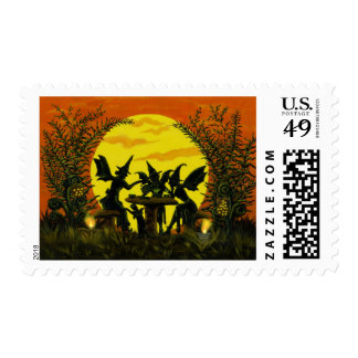 Halloween witch fairy's postage stamps