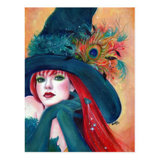 Halloween Witch  Feather post card by Renee Lavoie