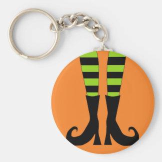 Halloween Witch Feet in Green Orange Background Basic Round Button Keychain