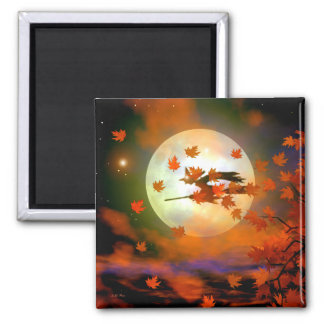 Halloween Witch Flight Fridge Magnets
