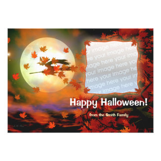 Halloween Witch Flight Photo Card Custom Announcements