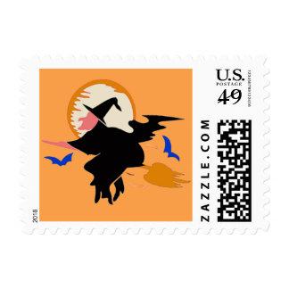 halloween witch flying broom custom postage stamp