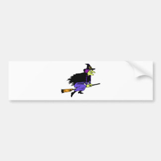 Halloween Witch Flying On A Broomstick Bumper Sticker