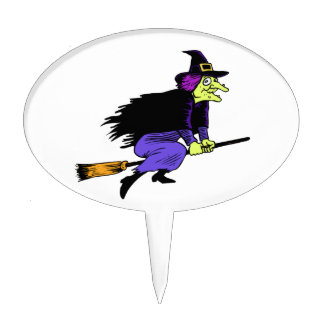 Halloween Witch Flying On A Broomstick Cake Pick