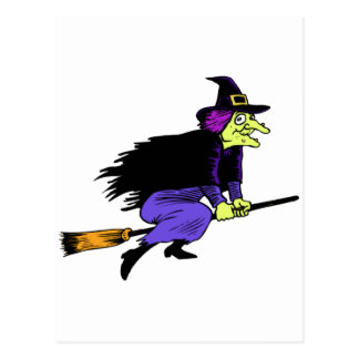 Halloween Witch Flying On A Broomstick Postcard