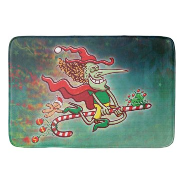 Halloween Themed Halloween witch flying on a Christmas candy cane Bathroom Mat